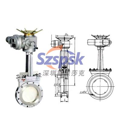 PZ973H电动对夹式不锈钢304/316刀闸阀 DN50 dn/80 dn100 dn125